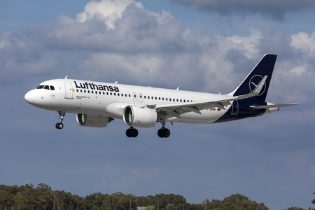 Luqa, Malta - May 15, 2019: Lufthansa Airbus A320-271N (D-AINM) landing 31, in new color scheme.