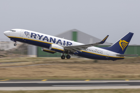 Luqa, Malta - May 18, 2019: Ryanair Boeing 737-800 (REG: EI-GJP) taking off from runway 13.