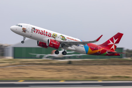 Luqa, Malta - May 18, 2019: Air Malta Airbus A320-251N (Reg.: 9H-NEO), Air Malta s only 320NEO, taking off.