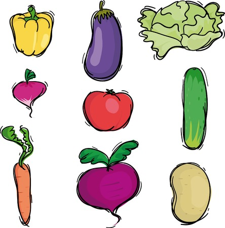 Nine vegetable icons, vector illustration