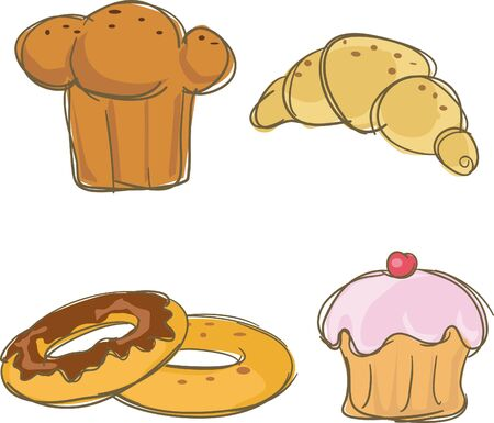 batch: Four carbohydrate icons,vector illustration