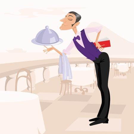 De Ober met het menu en een schotel op het terras van een restaurant Vector Illustratie