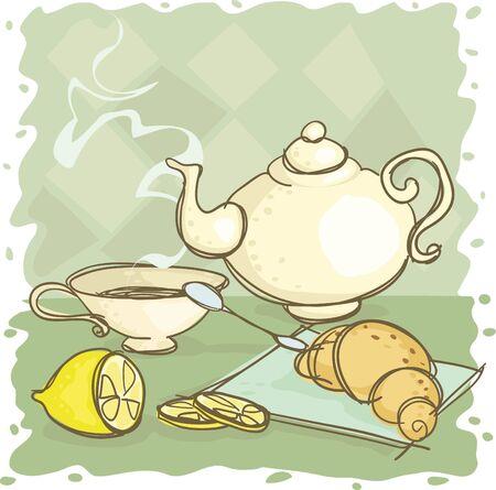stilllife: Still-life with a teapot and a lemon Illustration