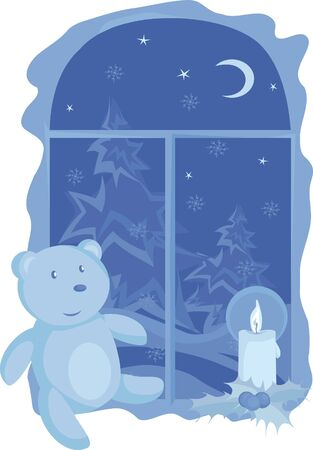 The Taddy bear at a window Vector