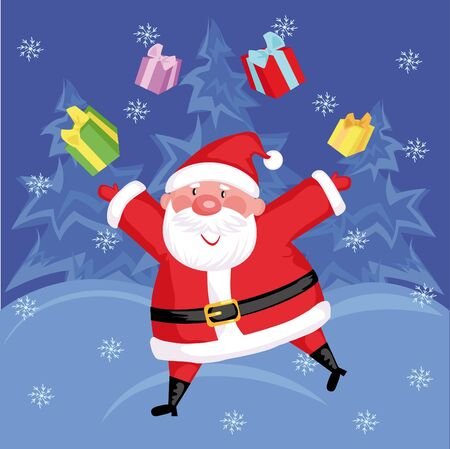 Funny Santa with gifts in  the forest