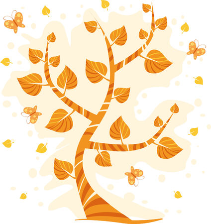 Autumn tree with butterflies Stock Vector - 3422560