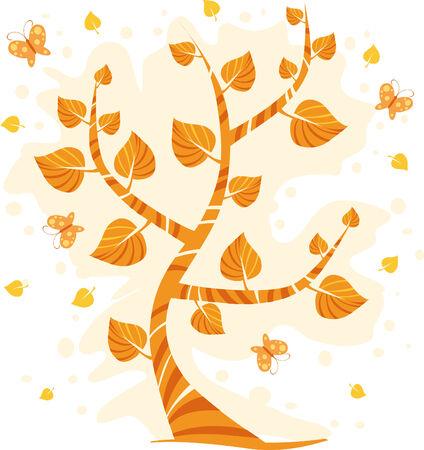 Autumn tree with butterflies Stock Vector - 3422560