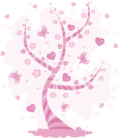 Spring tree with butterfly and pink hearts