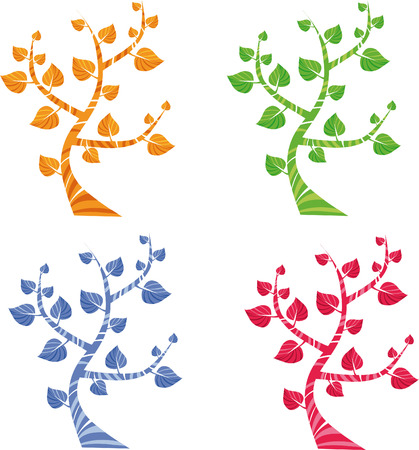 four colored trees, vector icons Stock Vector - 3425330
