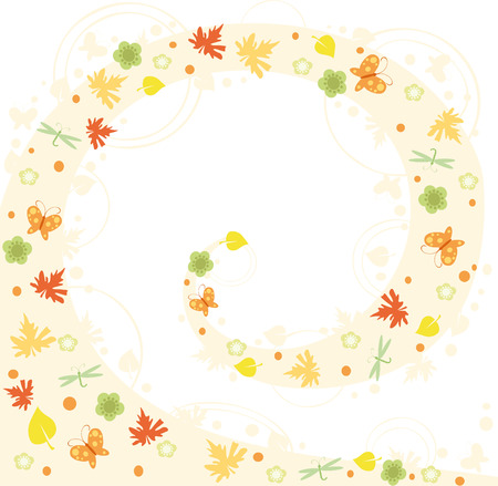 vignette with yellow leaves and butterfly Stock Vector - 3454081