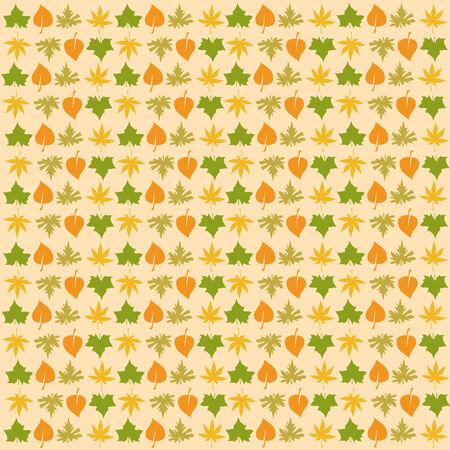 yellow wallpaper with colored leaves Stock Vector - 3473287