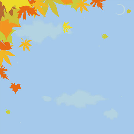 The autumn sky with the moon and falling leaves Stock Vector - 3549077