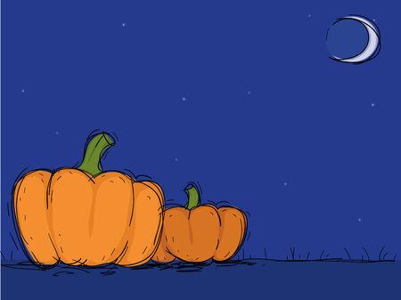 horrible: Two pumpkins in  Halloween night