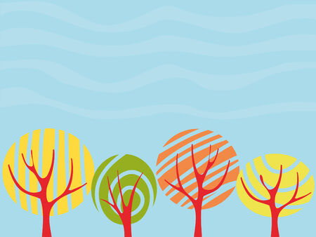 Background with autumn trees Stock Vector - 3582950
