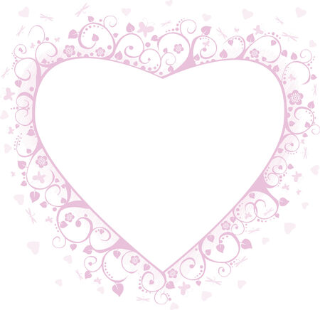 Pink framework with butterflies, hearts and flowers, a decorative pattern