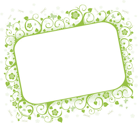 Green framework with butterflies and flowers, a decorative pattern