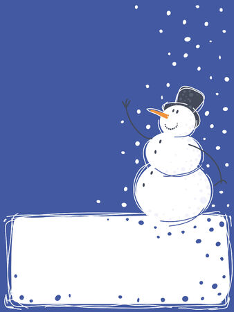 Christmas background with  a snowman Illustration