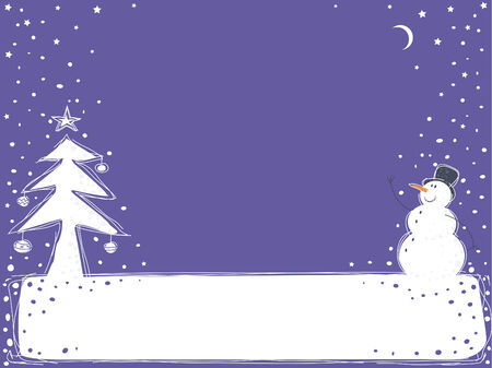 Christmas background with a snowman and a fur-tree Vector