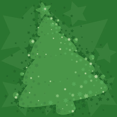 furtree: Green Christmas background with a fur-tree Illustration