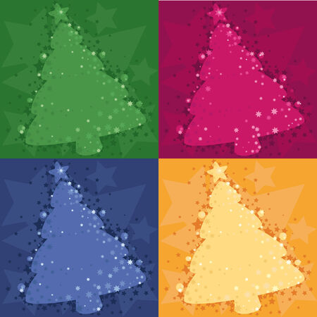 Four Christmas background with a fur-tree
