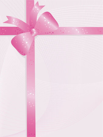 curlicue: Valentines day background with pink bow Illustration