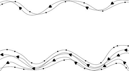marco blanco y negro: con corazones de fondo
