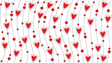 Red wallpaper with hearts Vector
