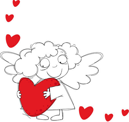 Little funny angel with hearts Vector