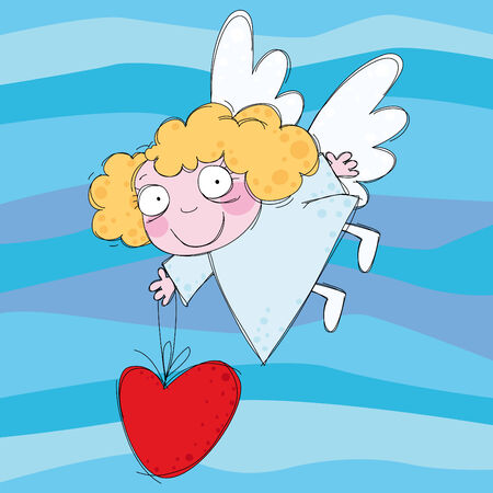 Little angel with heart in the sky