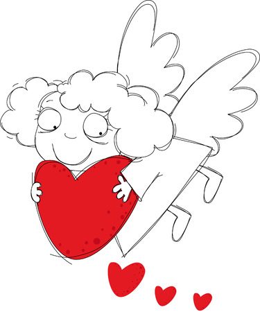 Little funny angel with hearts