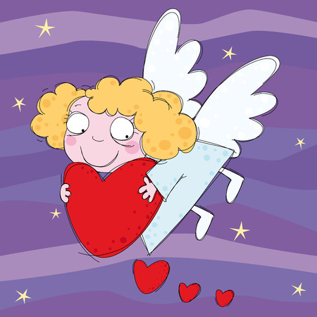 Little angel with heart in the night sky Vector