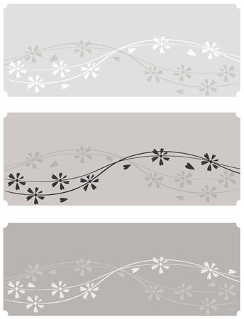 three brown floral banners Vector