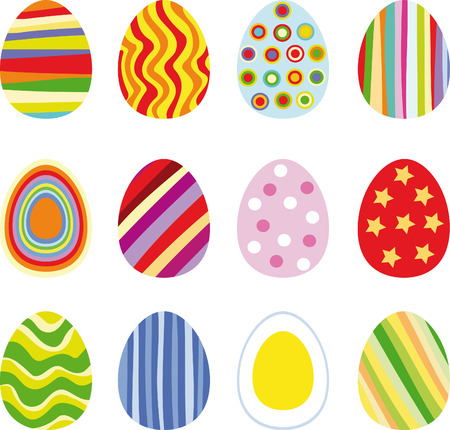 Twelve Easter eggs, vector illustration Stock Vector - 4138907