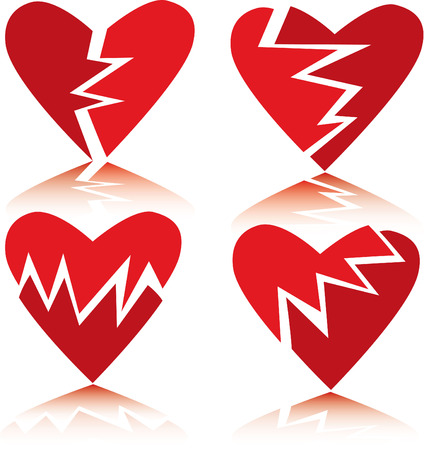 Vector set of broken hearts Vector