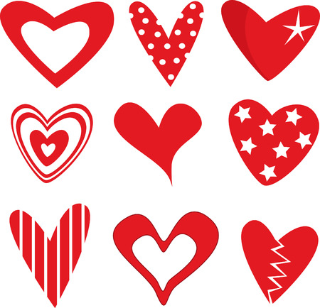 Vector illustration of beautiful hearts icon set Vector