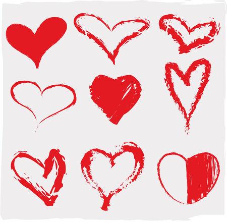 Vector illustration of beautiful hearts icon set Иллюстрация