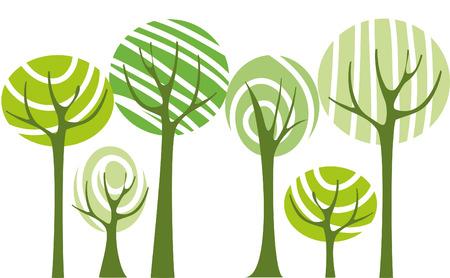 Vector green trees