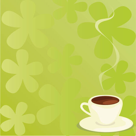 cup of coffee on a floral background Vector