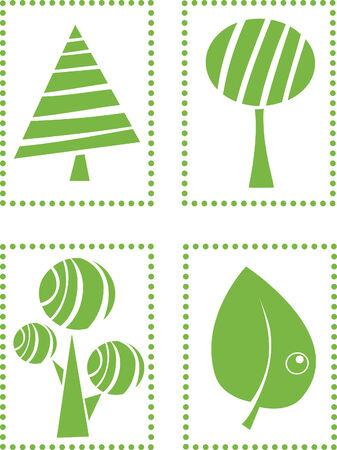 Four green eco frame Stock Vector - 4479476