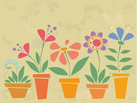 Vintage background with flowers in pots Stock Vector - 4587360