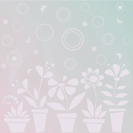Light blue background with flowers in pots Stock Vector - 4587358
