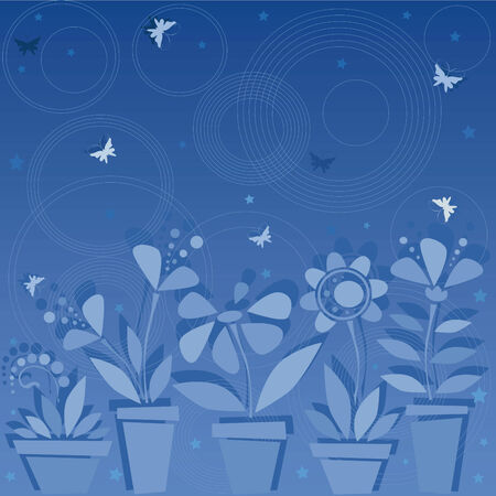 Dark blue background with flowers in pots Stock Vector - 4587359
