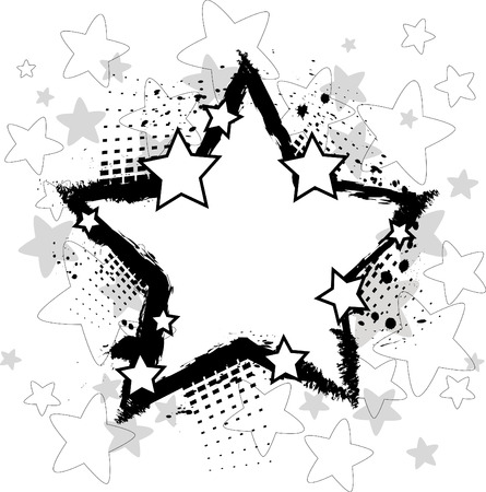 blob: Grunge background with stars Illustration