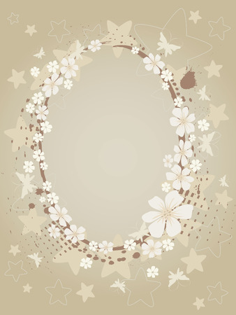 Grunge background with flowers and stars Vector