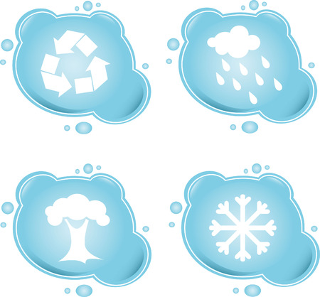 Four blue icons Vector