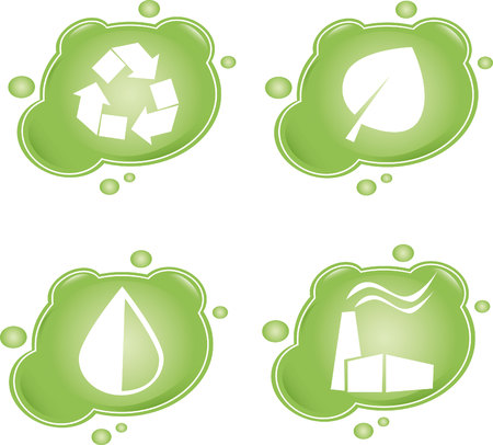 Four green eco icons Stock Vector - 4711720
