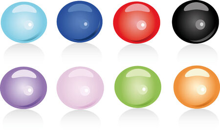 Set of eight glossy bubbles in various colors Vector