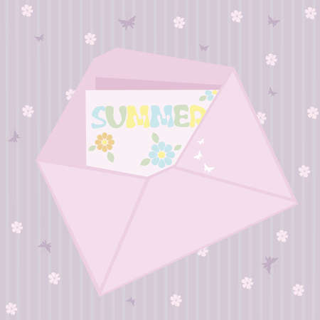 Pink envelope with butterflies Stock Vector - 4734485