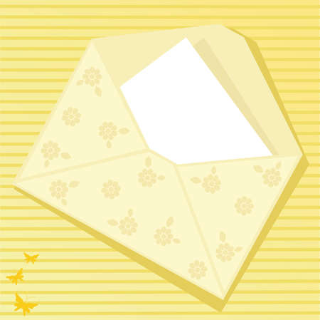 Yellow envelope with butterflies