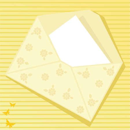 Yellow envelope with butterflies Stock Vector - 4734487